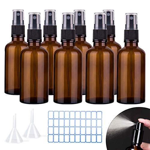 O-Kinee Sprühflaschen Glas Braunglasflaschen Ätherisches Öl Flaschen Set,für Tragbare Kosmetik Zerstäuberflasche,Make-up, Wasser, Reiseflüssigkeit (8 * 100ml)