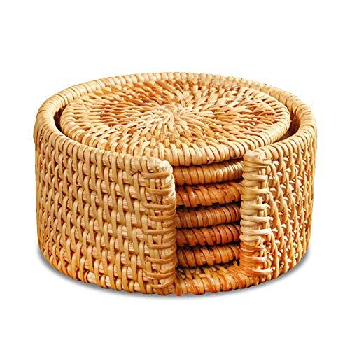 Sottobicchieri in rattan intrecciati a mano, 6 pezzi, rotondi, sottobicchieri in legno di bambù, sottobicchieri intrecciati a mano (sottobicchiere da 13 cm)