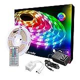Tira de luces LED, 5 m, 5 m, RGB LED, tira de luz LED que cambia de color, tira de luces LED 5050 para TV, recámara, fiesta y decoración del hogar, resistente al agua