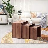 GOLDFAN Beistelltisch 3er Set Holz Couchtisch Tische Kleine Wohnzimmertisch Braun