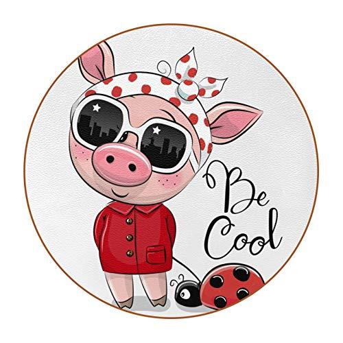 Bennigiry Traje de Cerdo Creativo Chica Cool Pet Ladybug de Cuero Tapetes Redondos Resistentes al Calor para Tazas Taza de café Tapetes Individuales para Tazas de Vidrio, 6 Piezas