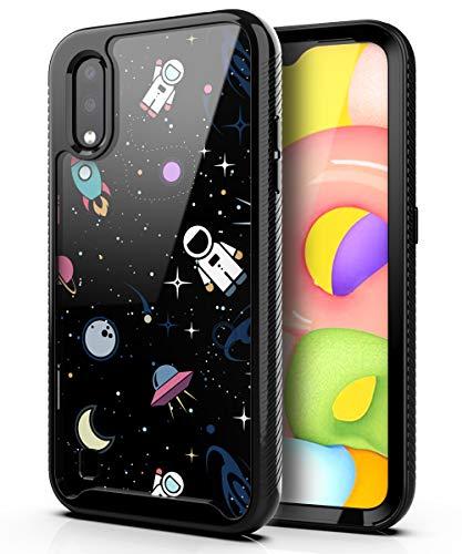 PBRO Case for Samsung Galaxy A01 Case,Samsung A01 Case Cute Astronaut Case Dual Layer Hybrid Anti-Slip Sturdy Case Rugged Shockproof Case for Samsung Galaxy A01 Space/Black