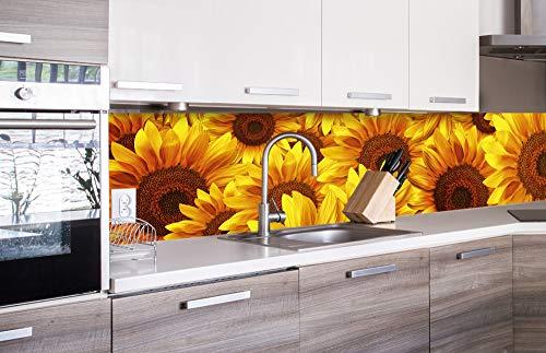 DIMEX LINE Küchenrückwand Folie selbstklebend Sonnenblumen | Klebefolie - Dekofolie - Spritzschutz für Küche | Premium QUALITÄT - Made in EU | 260 cm x 60 cm