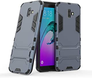 Galaxy J6 Plus Armor Case DWaybox 2 in 1 Heavy Duty Armor Hard Back Case Cover with Kickstand for Samsung Galaxy J6 Plus/J6 Prime 2018 6.0 Inch (Black Plus Gray)