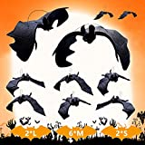 Supersfel Hanging Realistic Rubber Bats Soft - 10pcs Large Fake Vampire Bat Decor Spooky Scary Bats Decoration Prank Toy Gift for Kids Party Favor Decor Flying Bats Black Children Recognize Animals