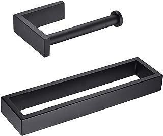 Hoooh Matte Black 2-Piece Bathroom Accessories Set Stainless Steel Wall Mount - Includes Towel Rings, Toilet Paper Holder, BS110S2-BK