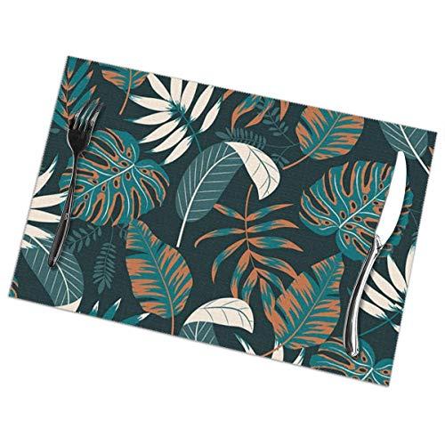 N/A Mooi Met Tropische Planten Bladeren Placemat Wasbaar Voor Keuken Diner Tafelmat, Makkelijk Te Reinig Makkelijk Te Vouwen Plaats Mat 12x18 Inch Set Van 6