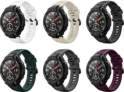 Simpleas Correa de Reloj Compatible con Amazfit T-Rex, Silicona Correa Reloj con Acero Inoxidable Hebilla desplegable (6PCS A)