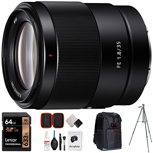 Sony FE 35mm F1.8 Large Aperture Full-Frame E-Mount Prime Lens Bundle with 64GB Memory Card, Camera Sling Backpack, All-in-One Cleaning Kit for DSLR Cameras and 60-Inch Video & Photography Tripod