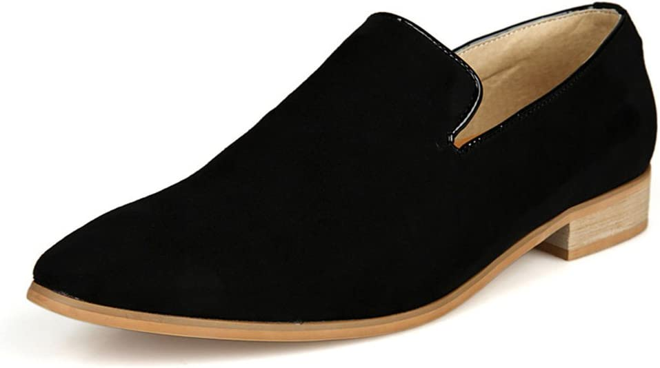 Color : Black, Size : 7.5 US Spring Mens Leisure Shoes Business Breathable Leather Shoes Mens Leather Dress Shoes Slip On Plain Toe Loafer