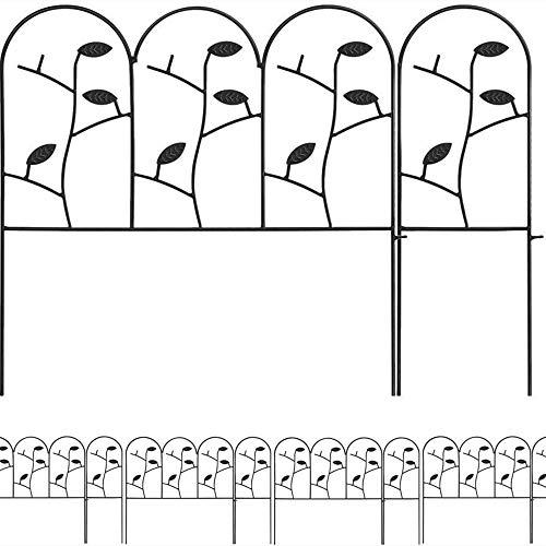 Amagabeli 46cm X 10.7m Valla Jardín de Hierro - Set de 30 - Valla Decorativa Metalicas para Jardín Metal Negro