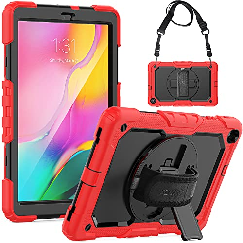 SEYMAC Tab A 10.1 2019 Case (SM-T510/T515/T517), Rugged Protection Tablet Case with 360 Rotate Hand Strap [Screen Protector] Stand /Shoulder Strap/ Pen Holder for Tab A 10.1 2019 (Black/Red)