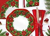 ARCOBALENOPARTY Juego de 8 invitados de Navidad (10 bajoplatos, 8 platos de 23,8 cm, vasos, 20 servilletas)