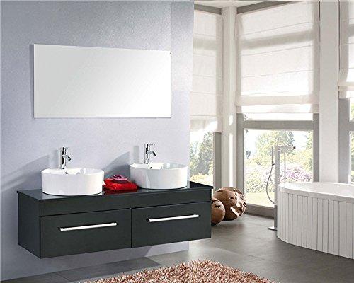 Mueble de baño con doble lavabo, modelo Cardellino, de 150cm, grifos incluidos