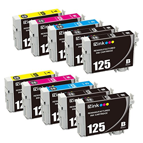 E-Z Ink (TM) Remanufactured Ink Cartridge Replacement For Epson 125 (4 Black, 2 Cyan, 2 Magenta, 2 Yellow) 10 Pack For Stylus NX125, NX127, NX130, ,NX230, NX420, NX530, NX625, WorkForce 320 Printer