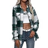 Camisa a cuadros para mujer, informal, mezcla de lana, a cuadros, manga larga, bolsillo con botones, chaquetas y camisetas para mujer, A-verde., M