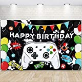 Watercolor Video Game Happy Birthday Backdrop 73'' x 43'' - Gaming Party Decorations for Boys Birthday Banner Game Party Supplies Photography Background Wall Decoration