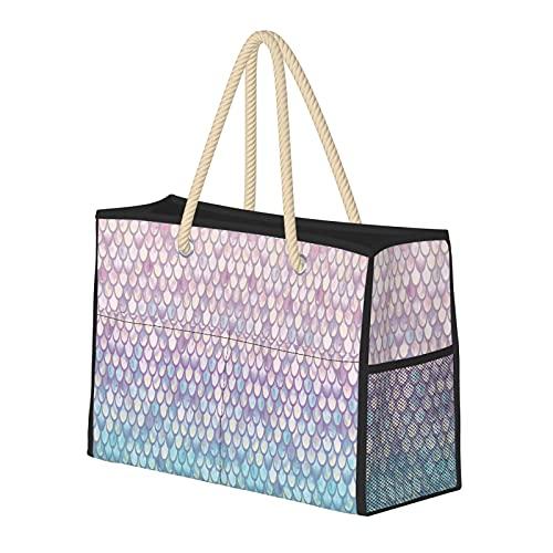 Bolsas de playa para mujer, básculas de sirena de primavera, bolsa de viaje, bolsa de almacenamiento de semanas, bolsa de hombro, bolsa de playa, viajes, gimnasio