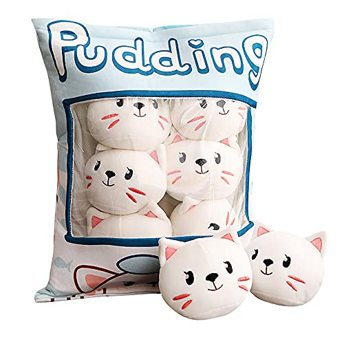 GUGUBU Lindo Kawaii relleno suave cojín almohada pudín Neko Squishy gato felpa Plushie
