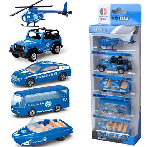 DAN DISCOUNTS Spielzeug Fahrzeuge, 5 Pack Assorted Modellautos Mini Trucks Set für Jungen Kinder- Polizei Serie