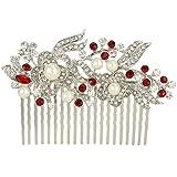 EVER FAITH® - Cristal Gatsby Inspirado Color Marfil Perla Simulada Peineta de Pelo - Rojo-20-Dientes-Plata-Tono