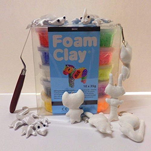 CSB-Center Foam Clay® Modelliermasse mit feinen Perlen/Kügelchen - Bastelset - Tiere