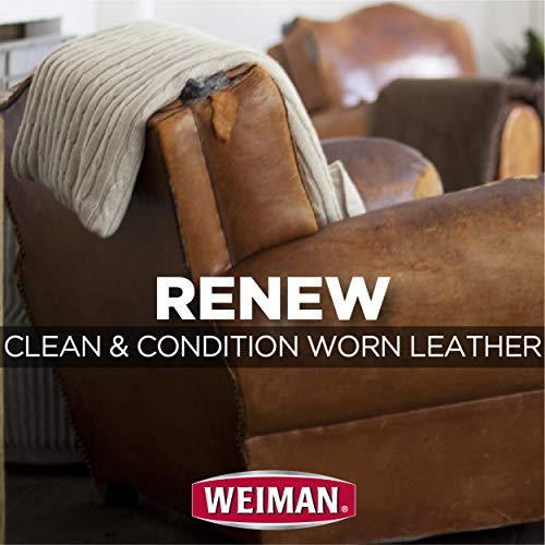 Weiman Leather Wipes - 2 Pack - Clean Condition UV Protection Help Prevent Cracking or Fading of Leather Couches, Car Seats, Shoes, Purses
