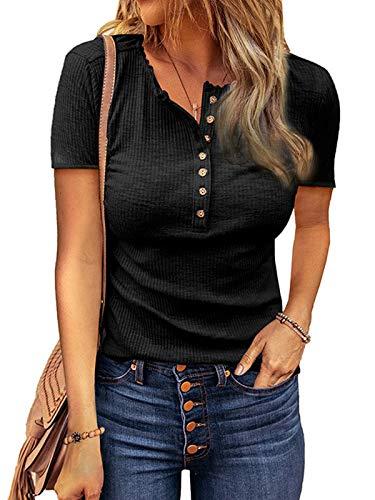 ABINGOO Donna Camicetta Estivo Manica Corta Camicia Casuale T-Shirt Tinta Unita Estate Maglietta Tops,Nero,M