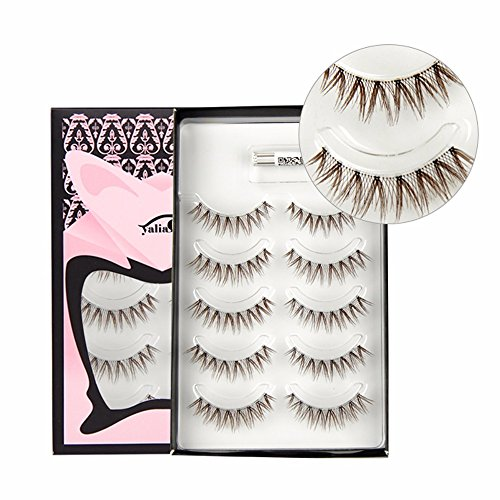 VanMe 5 Couples Brown Faux Cils Naturels Maquillage Style Court Cross Style Cils.