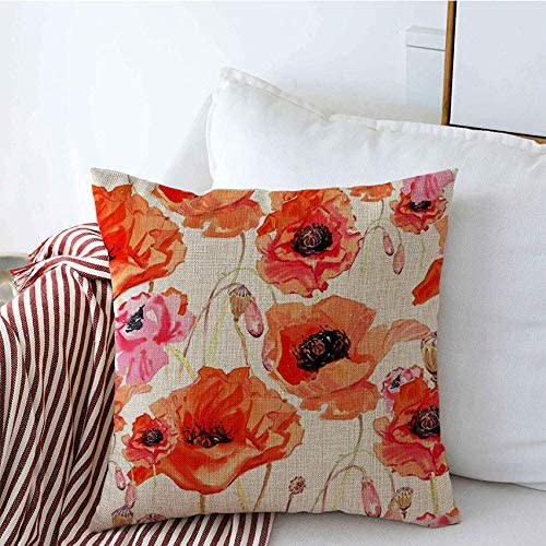 Throw Pillow Cushion Covers Red Bud Wildflower Poppy Flower Pattern Watercolor Nature Drawing Fall Flora Floral Meadow Wild Square Linen Pillow Case For Couch Sofa Car 18x18 Inch Home Kitchen