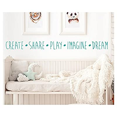 Create Share Play Imagine Dream Vinyl Lettering Wall Decal Sticker
