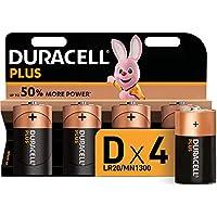 Duracell Plus D - Pilas Alcalinas paquete de 4, 1.5 Voltios LR20 MN1300