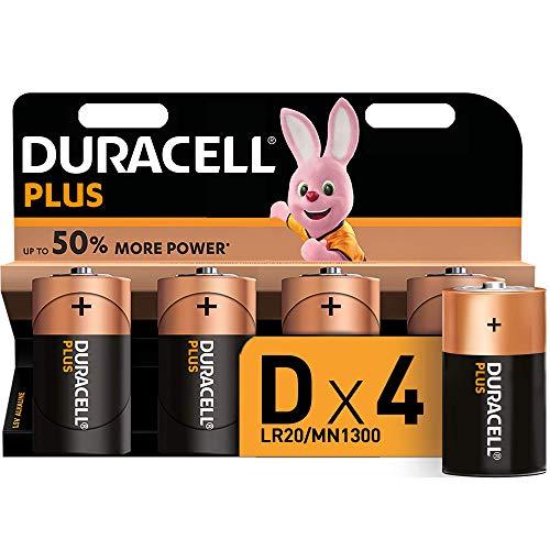 Duracell Plus D, Pilas Alcalinas , paquete de 4, 1,5 Voltios LR20 MN1300