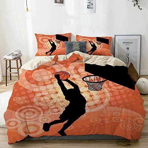 Bettbezug-Set Beige, Orange Basketball Dunk Athlete Print, dekoratives 3-teiliges Bettwäscheset mit 2 Kissenbezügen Pflegeleicht Antiallergisch Weich Glatt