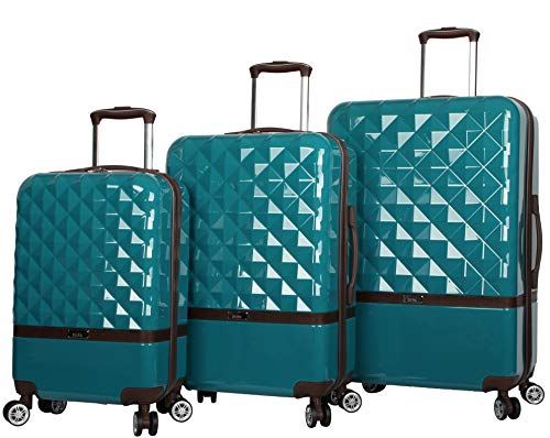 Nicole Miller Designer Luggage Collection - 3 Piece Hardside Lightweight Spinner Suitcase Set - Travel Set Includes 20-Inch Carry On, 24 inch and 28-Inch Checked Suitcase (Madison Peacock)