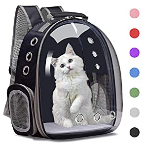 Henkelion Cat Backpack Carrier Bubble Carrying Bag, Small Dog Backpack Carrier for Small Medium Dogs Cats, Space Capsule Pet Carrier Dog Hiking Backpack, Airline Approved Travel Carrier – Black