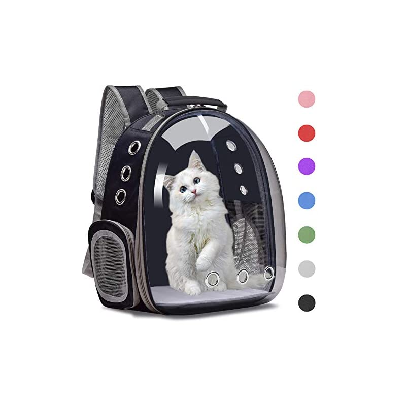 dog supplies online henkelion cat backpack carrier bubble carrying bag, small dog backpack carrier for small medium dogs cats, space capsule pet carrier dog hiking backpack, airline approved travel carrier - black