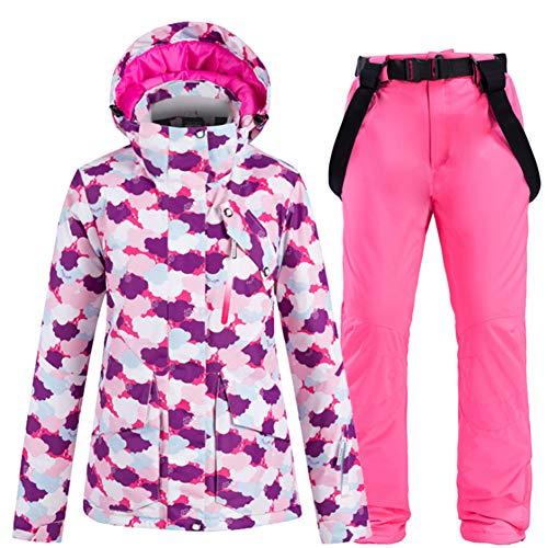 LFTYV Skijacken Hosen Set Damen Winter Ski Anzug Set Wasserdicht Warm Mountain Snow Snowboard Anzug Set,C,XXL