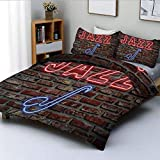 Juego de funda nórdica, imagen de Alluring Neon All Jazz Sign con instrumento de saxofón en impresión de pared de ladrillo Juego de cama decorativo de 3 piezas con 2 fundas de almohada, rojo azul, el