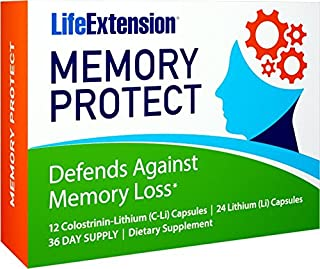 Life Extension Memory Protect, Powerful Dual Action Cognition and Memory Support, 12 Colostrinin-Lithium (C-Li) Capsules | 24 Lithium (Li) Capsules