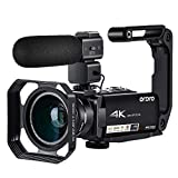 Videocámara Cámara de Video 4K ORDRO AC7 con Zoom óptico de 10x 3.1 'Pantalla Táctil IPS Ultra HD 1080P 60FPS Videocámaras WiFi Digitales con Micrófono Gran Angular