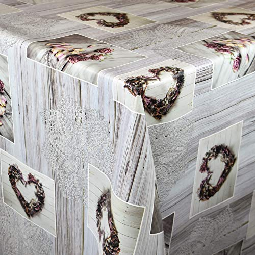 KEVKUS Wachstuch Tischdecke Meterware C141151 Herzen Love Holz Strick Rosen Blumen wählbar in eckig rund oval (Rand: Paspel (mit Kunststoffband), 120 x 120 cm eckig)
