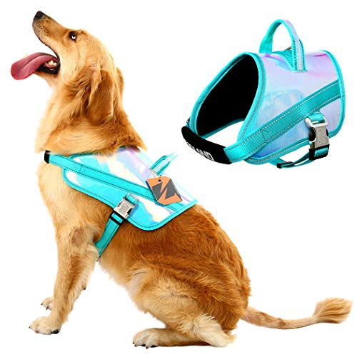 MIGOHI Dog Harness, No-Pull Reflective Adjustable Vest with Handle for Outdoor Walking, Dazzle Color Laser Pet Safety Vest, No More Pulling, Tugging or Choking for Small Medium Large Dogs, Blue, S