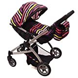 Babyboo Twin Doll Stroller Foldable Double Doll Pram Deluxe Little Marcel Look with Swiveling Wheels, Adjustable Handle and Bassinet, and Carriage Bag