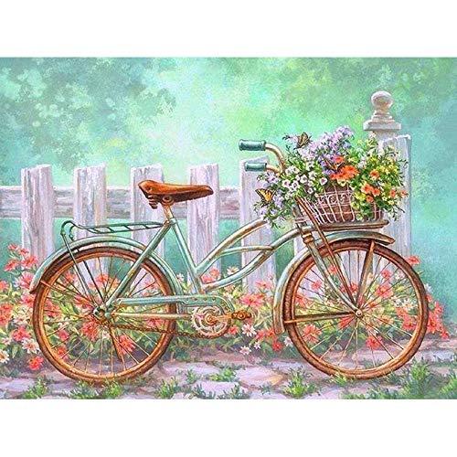 5D Full Round Drill DIY Diamantmalerei Blume Fahrrad Kreuzstich Stickerei Kit Geschenke Home Decor