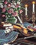 SGJKG Malen nach Zahlen Kits DIY Acryl Gemälde Kit Klavier und Geige für Kinder Erwachsene Anfänger Leinwanddruck Wandkunst Dekoration- 16x20 Zoll (Ohne Rahmen)