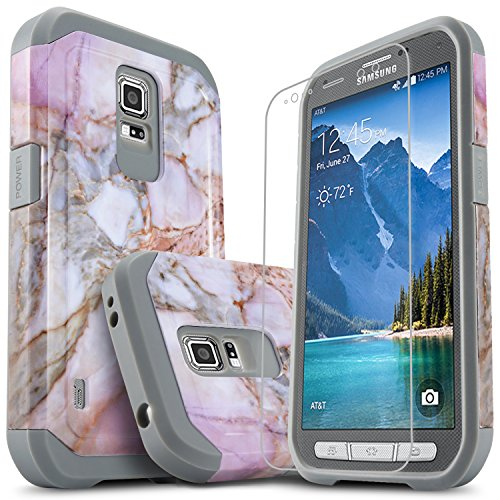 Galaxy S5 Active Case, [Not Fit Galaxy S5] Starshop [Shock Absorption] Dual Layers Rugged Armor Phone Cover with [Premium HD Screen Protector Included] for Samsung Galaxy S5 Active (Marble Pattern)