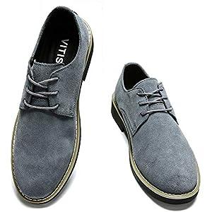 [VITIST] レースアップシューズ カジュアルシューズ メンズ スエードシューズ スウェード 靴 本革 オックスフォードシ ビジネスシューズ イギリス風 普段履き グレー 24.5cm