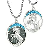 Courage Horse Wild Mustang Love Couples Best Friends Simulated Marble Simulated White Turquoise Necklaces