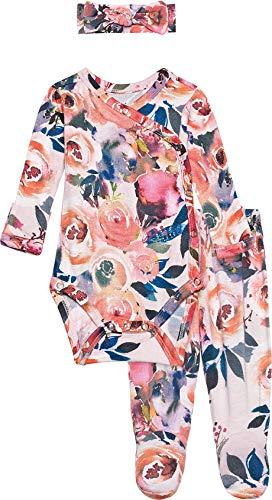 Posh Peanut Baby Clothes Three Piece Kimono Set - Girls Pajamas with Matching Headband (Dusk Rose)